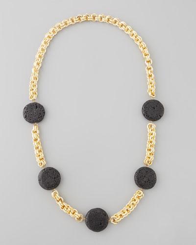 Lava Coin Necklace, Black