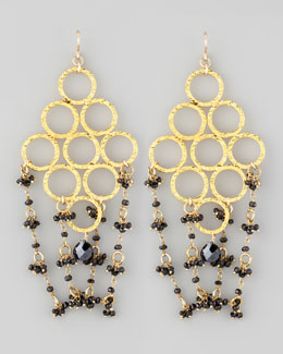 Devon Leigh Beaded Golden Chandelier Earrings