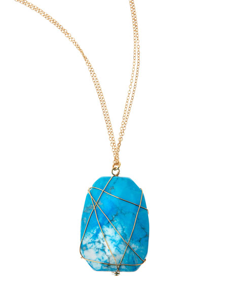 Turquoise-Hued Resin Pendant Necklace