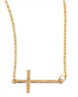 Jules Smith Mini Sideways Cross Charm Necklace