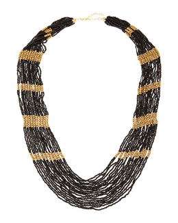 Jules Smith Long Multi-Strand Beaded Necklace, Black/Golden