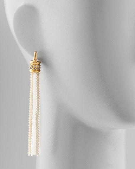 Bead-Tassel Earrings, White/Brown