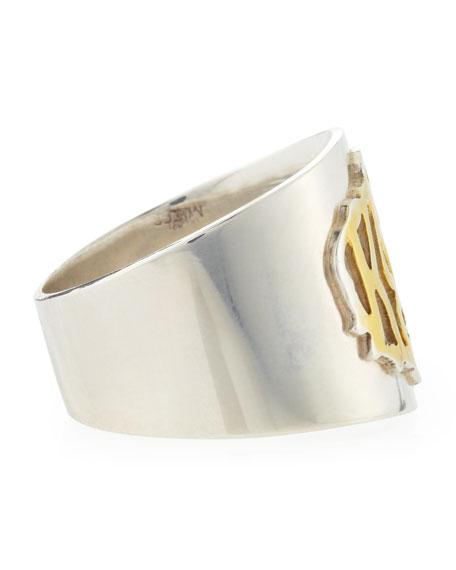 Monogram Script-Letter Silver/Gold Cigar Ring