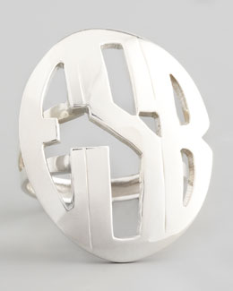 Moon and Lola Block-Lettered Oval Monogram Ring