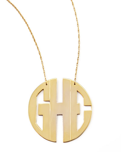 Monogram Large Golden Block Pendant Necklace