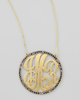 Kacey K Cutout-Monogram Large Pave Black Diamond Necklace