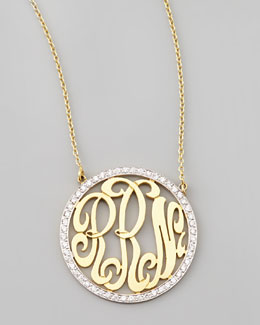 Kacey K Cutout-Monogram Medium Pave White Diamond Necklace
