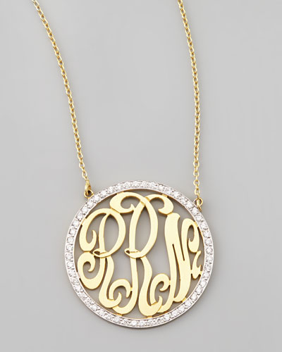 Cutout-Monogram Medium Pave White Diamond Necklace