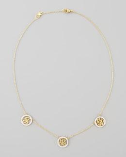 Kacey K Personalized XS Triple-Initial Pave Diamond Necklace
