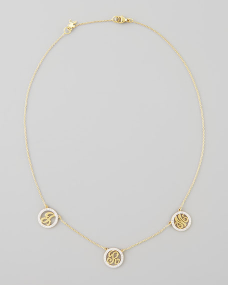 Kacey K Personalized XS Triple-Initial Pave Diamond Necklace