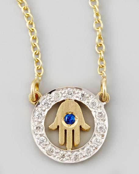 Cutout Hamsa XS Diamond Necklace