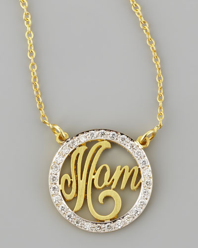 Mom Small Diamond Pendant Necklace