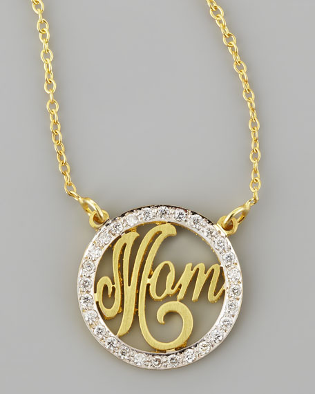 Mom Small Diamond Pendant Necklace