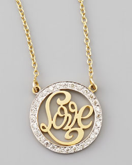 Kacey K Small Love-Cutout Pave White Diamond Necklace