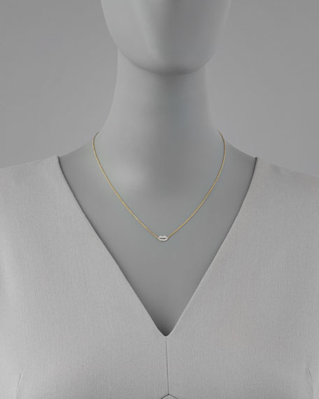 Mini Diamond-Lip Pendant Necklace
