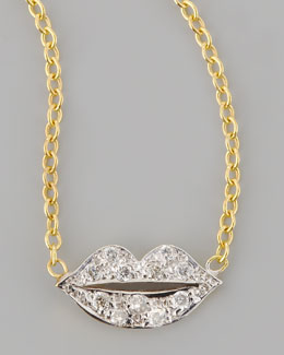 Kacey K Mini Diamond-Lip Pendant Necklace