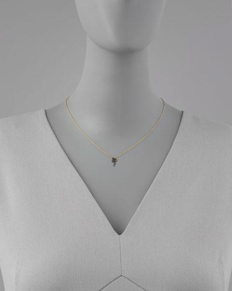 Mini Black Diamond Snake Pendant Necklace