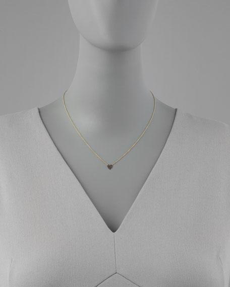 Mini Black Diamond Heart Pendant Necklace