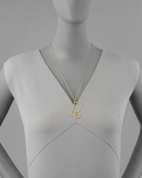 Large 14k Gold Initial Pendant Necklace