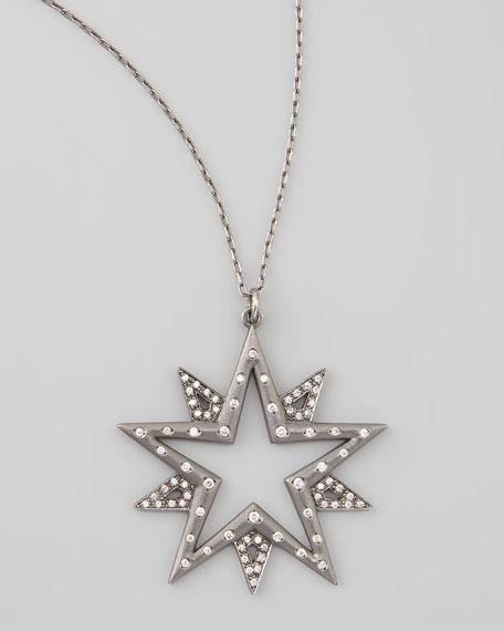 Large Pave Diamond Star Necklace