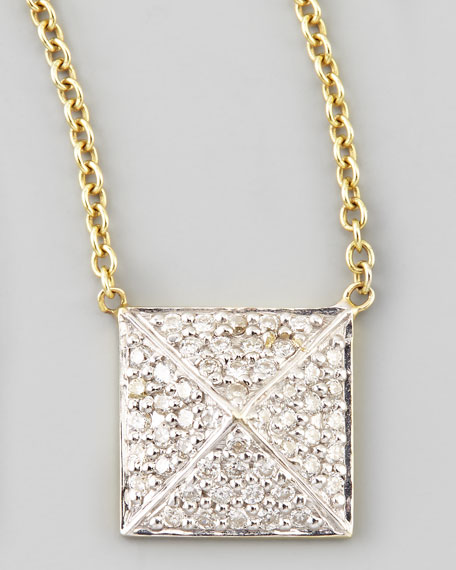 Pave Diamond Pyramid Pendant Necklace