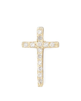 Zoe Chicco One Pave Diamond Gold Cross Stud Earring