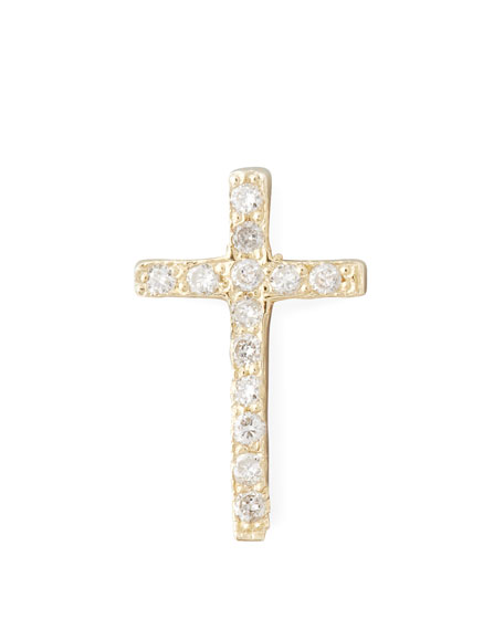 One Pave Diamond Gold Cross Stud Earring