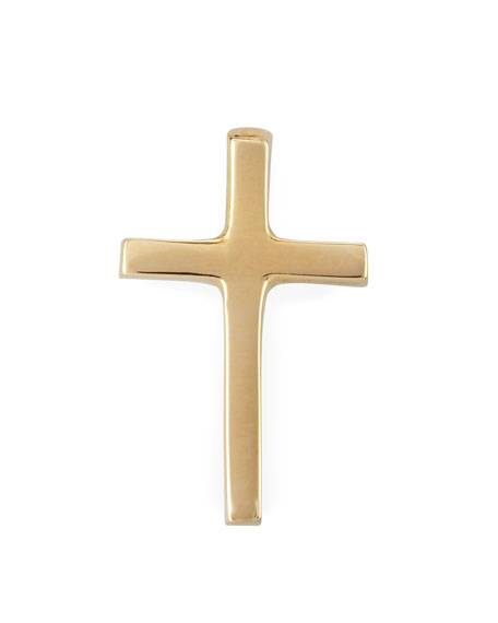 Solid Gold Cross Stud Earring