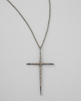 Zoe Chicco Pave Black Diamond Cross Necklace, 30""