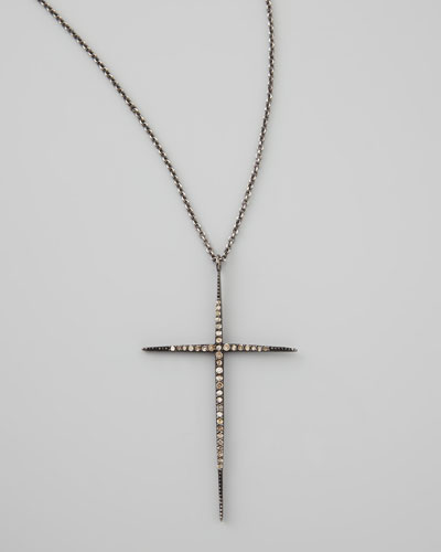 Pave Black Diamond Cross Necklace, 30""