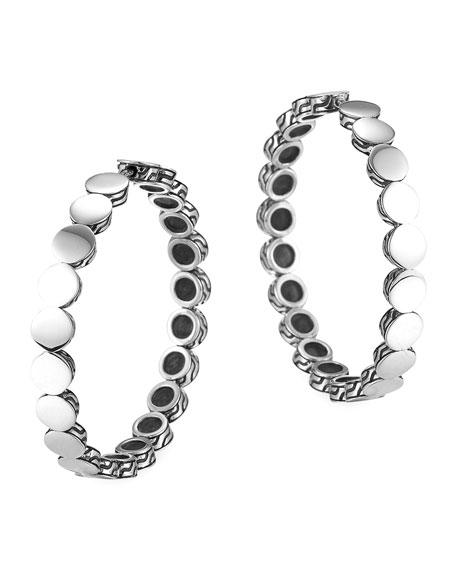 Dot Silver Medium Hoop Earrings with Full Closure