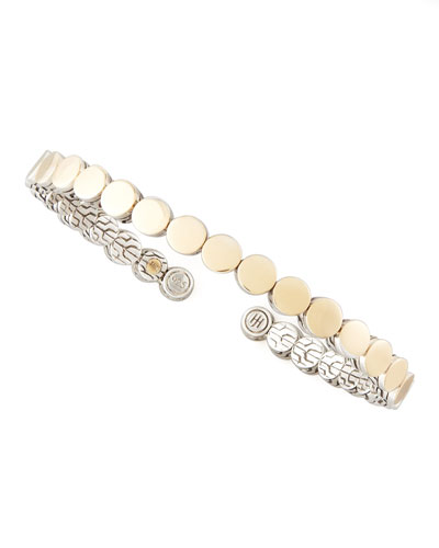 John Hardy Dot Gold & Silver Flex Cuff, 5.5mm