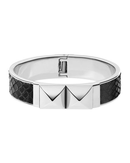 Python-Embossed Pyramid Bangle, Silver Color