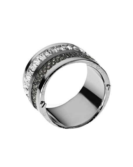 Multi-Stone Pave Barrel Ring, Silver Color