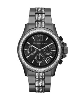 Michael Kors  Oversize Gunmetal Stainless Steel Everest Chronograph Glitz Watch