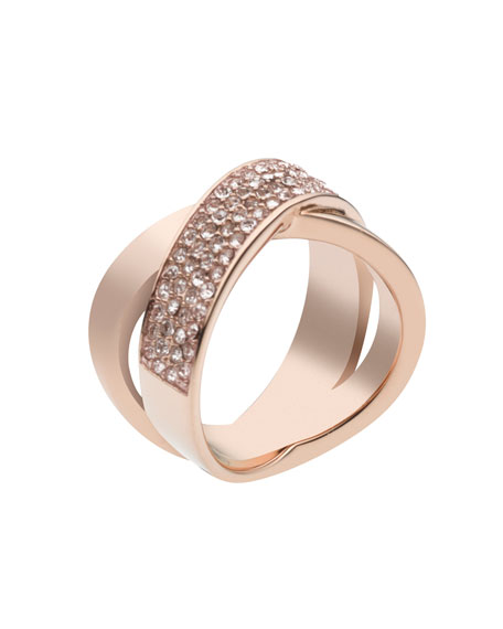 Pave-Crystal Twist Ring, Rose Golden