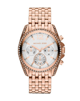 Michael Kors  Mid-Size Rose Golden Pressley Chronograph Glitz Watch