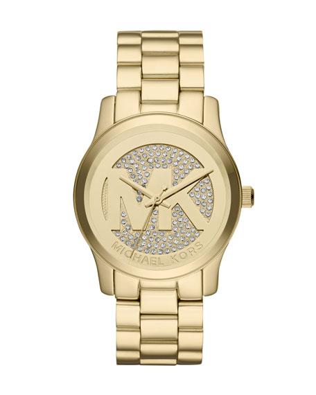 Golden Stainless Steel Logo Runway Three-Hand Glitz Watch