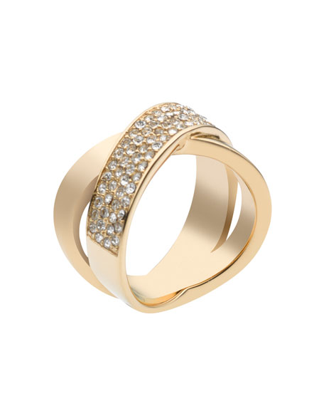 Pave Crystal X Ring, Golden