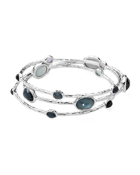 Sterling Silver Wonderland Bangle Set in Indigo
