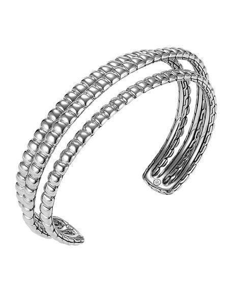 Bedeg Silver Three-Row Cuff Bracelet