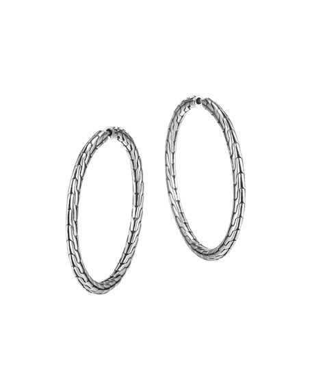 John Hardy Chain Silver Hoop Earrings, Medium