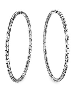John Hardy Chain Silver Hoop Earrings, Large