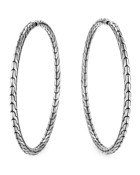 Chain Silver Hoop Earrings, Large