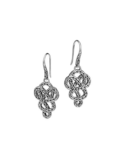 John Hardy Classic Chain Silver Braided Drop Earrings