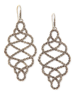 John Hardy Chain Silver Braided Drop Earrings, Large
