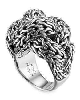 John Hardy Classic Chain Silver Braided Ring, Large