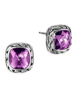 John Hardy Batu Chain Amethyst Stud Earrings