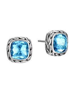John Hardy Batu Classic Chain Blue Topaz Stud Earrings