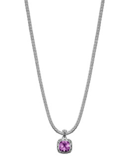 John Hardy Batu Chain Amethyst Pendant Necklace, Small